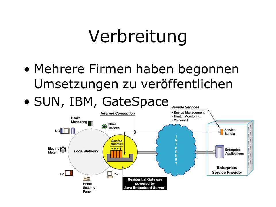 Verbreitung Mehrere Firmen haben begonnen Umsetzungen zu veröffentlichen SUN, IBM, GateSpace
