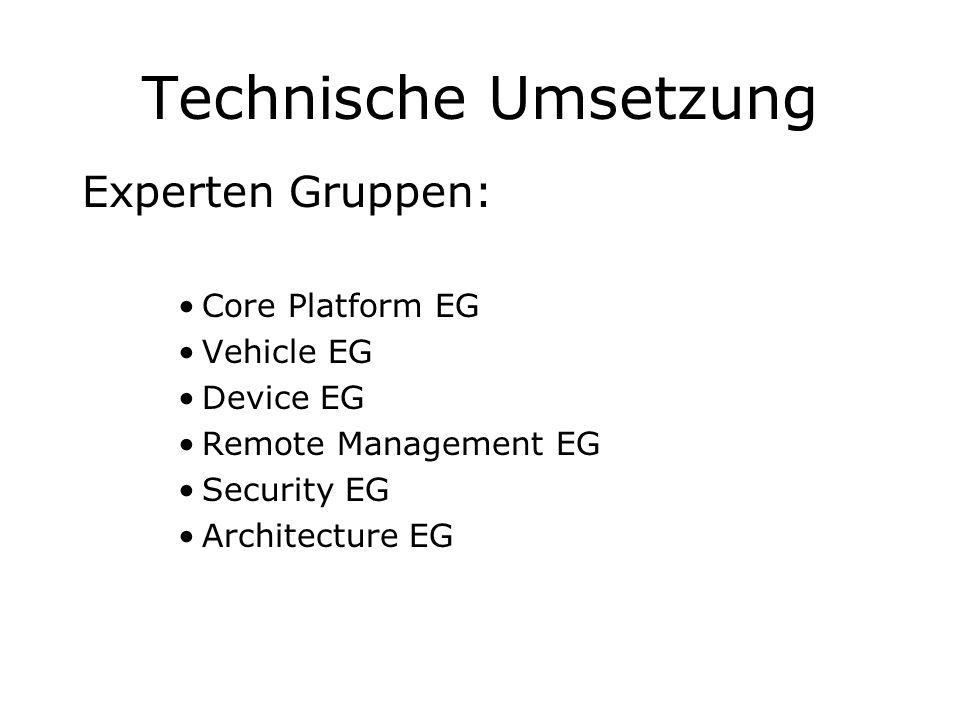 Technische Umsetzung Experten Gruppen: Core Platform EG Vehicle EG Device EG Remote Management EG Security EG Architecture EG