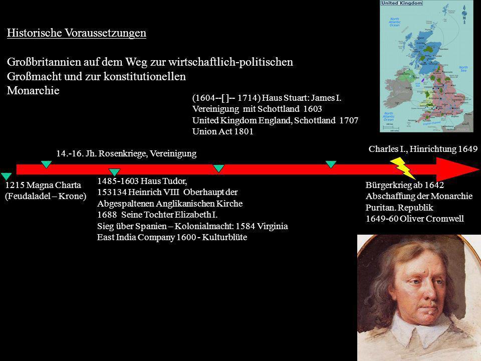 Historische Voraussetzungen Großbritannien auf dem Weg zur wirtschaftlich-politischen Großmacht und zur konstitutionellen Monarchie 1215 Magna Charta