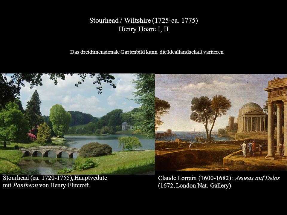Stourhead (ca. 1720-1755), Hauptvedute mit Pantheon von Henry Flitcroft Claude Lorrain (1600-1682) : Aeneas auf Delos (1672, London Nat. Gallery) Stou