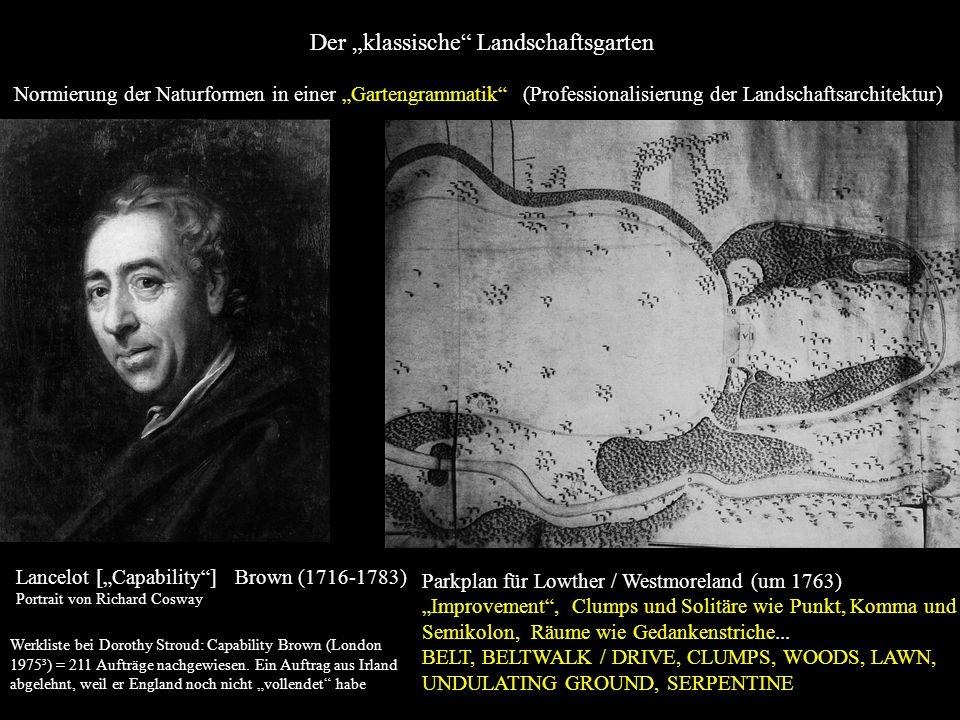 Lancelot [Capability] Brown (1716-1783) Brown (1716-1783), Portrait von Richard Cosway Parkplan für Lowther / Westmoreland (um 1763) Improvement, Clum