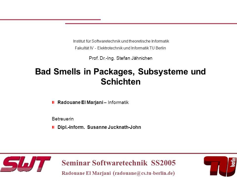 Seminar Softwaretechnik SS2005 Radouane El Marjani ( radouane@cs.tu-berlin.de ) Institut für Softwaretechnik und theoretische Informatik Fakultät IV - Elektrotechnik und Informatik TU Berlin Prof.