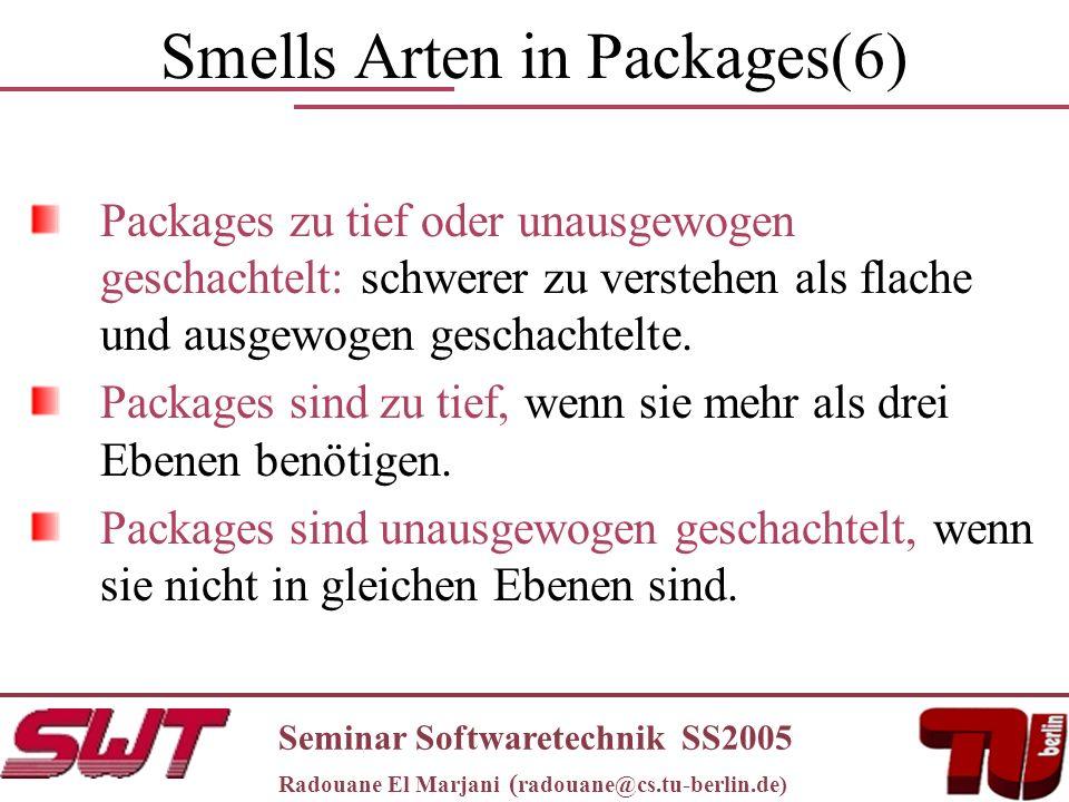 Smells Arten in Packages(6) Packages zu tief oder unausgewogen geschachtelt: schwerer zu verstehen als flache und ausgewogen geschachtelte.