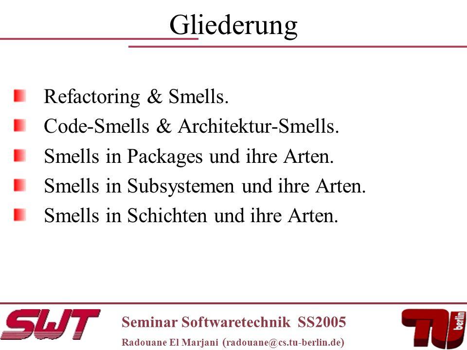 Gliederung Refactoring & Smells. Code-Smells & Architektur-Smells.