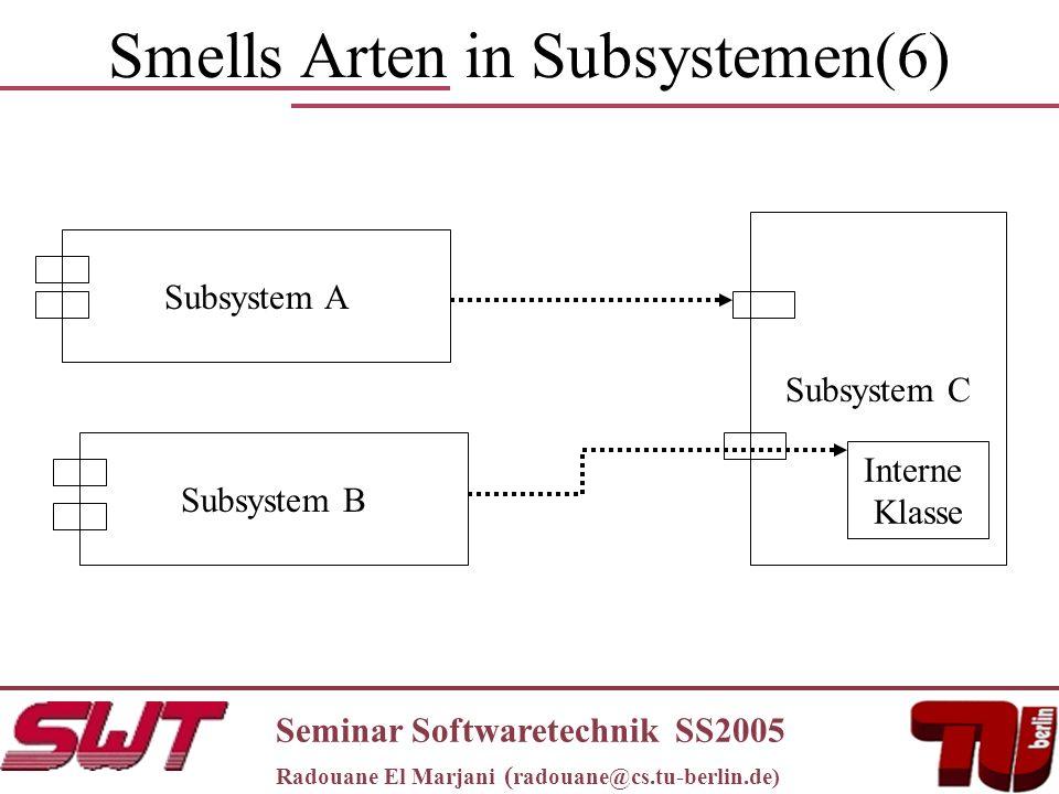 Smells Arten in Subsystemen(6) Seminar Softwaretechnik SS2005 Radouane El Marjani ( radouane@cs.tu-berlin.de) Subsystem A Subsystem C Subsystem B Interne Klasse