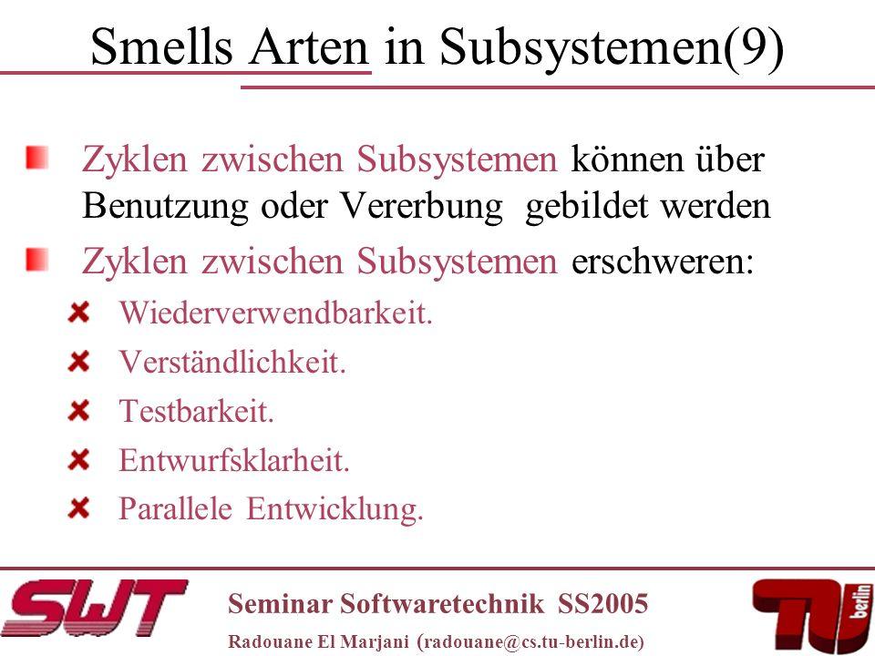 Smells Arten in Subsystemen(9) Zyklen zwischen Subsystemen können über Benutzung oder Vererbung gebildet werden Zyklen zwischen Subsystemen erschweren: Wiederverwendbarkeit.