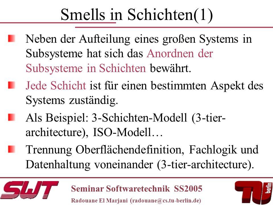 Smells in Schichten(1) Neben der Aufteilung eines großen Systems in Subsysteme hat sich das Anordnen der Subsysteme in Schichten bewährt.