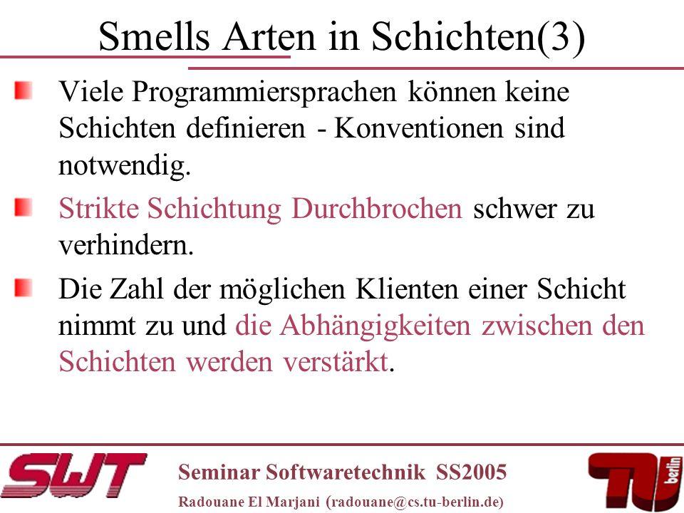 Smells Arten in Schichten(3) Viele Programmiersprachen können keine Schichten definieren - Konventionen sind notwendig.