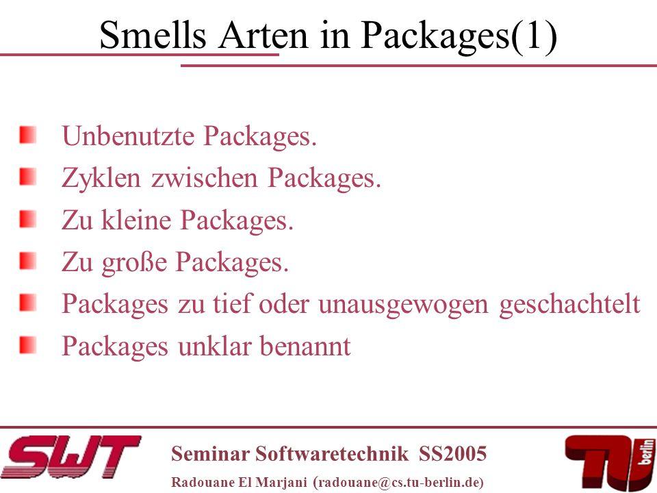 Smells Arten in Packages(1) Unbenutzte Packages. Zyklen zwischen Packages.