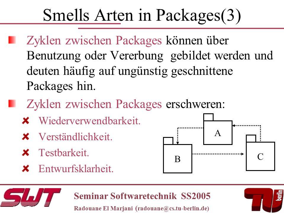 Smells Arten in Packages(3) Zyklen zwischen Packages können über Benutzung oder Vererbung gebildet werden und deuten häufig auf ungünstig geschnittene Packages hin.