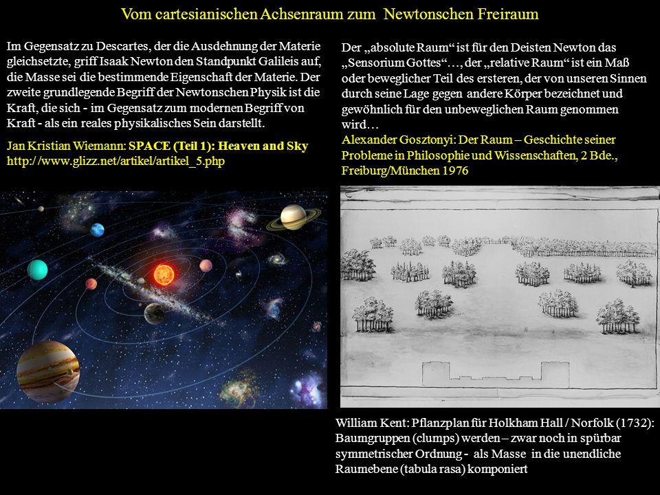 Vom cartesianischen Achsenraum zum Newtonschen Freiraum William Kent: Pflanzplan für Holkham Hall / Norfolk (1732): Baumgruppen (clumps) werden – zwar