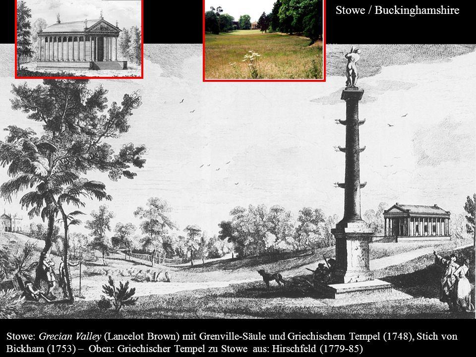 Stowe: Grecian Valley (Lancelot Brown) mit Grenville-Säule und Griechischem Tempel (1748), Stich von Bickham (1753) – Oben: Griechischer Tempel zu Sto