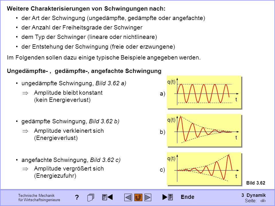 3 Dynamik Seite: 391 Technische Mechanik für Wirtschaftsingenieure Weitere Charakterisierungen von Schwingungen nach: der Art der Schwingung (ungedämp