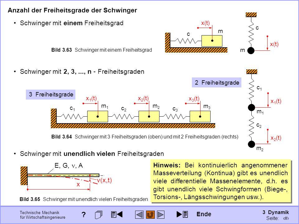 3 Dynamik Seite: 392 Technische Mechanik für Wirtschaftsingenieure Schwinger mit 2, 3,..., n - Freiheitsgraden Anzahl der Freiheitsgrade der Schwinger Schwinger mit einem Freiheitsgrad c m x(t) x 3 (t) c3c3 m3m3 x 2 (t) c2c2 m2m2 x 1 (t) c1c1 m1m1 3 Freiheitsgrade c1c1 m1m1 x 1 (t) m2m2 c2c2 x 2 (t) 2 Freiheitsgrade c m x(t) Bild 3.63 Schwinger mit einem Freiheitsgrad Bild 3.64 Schwinger mit 3 Freiheitsgraden (oben) und mit 2 Freiheitsgraden (rechts) Schwinger mit unendlich vielen Freiheitsgraden E, G,, A x v(x,t) Bild 3.65 Schwinger mit unendlich vielen Freiheitsgraden Hinweis: Bei kontinuierlich angenommener Masseverteilung (Kontinua) gibt es unendlich viele differentielle Massenelemente, d.h.