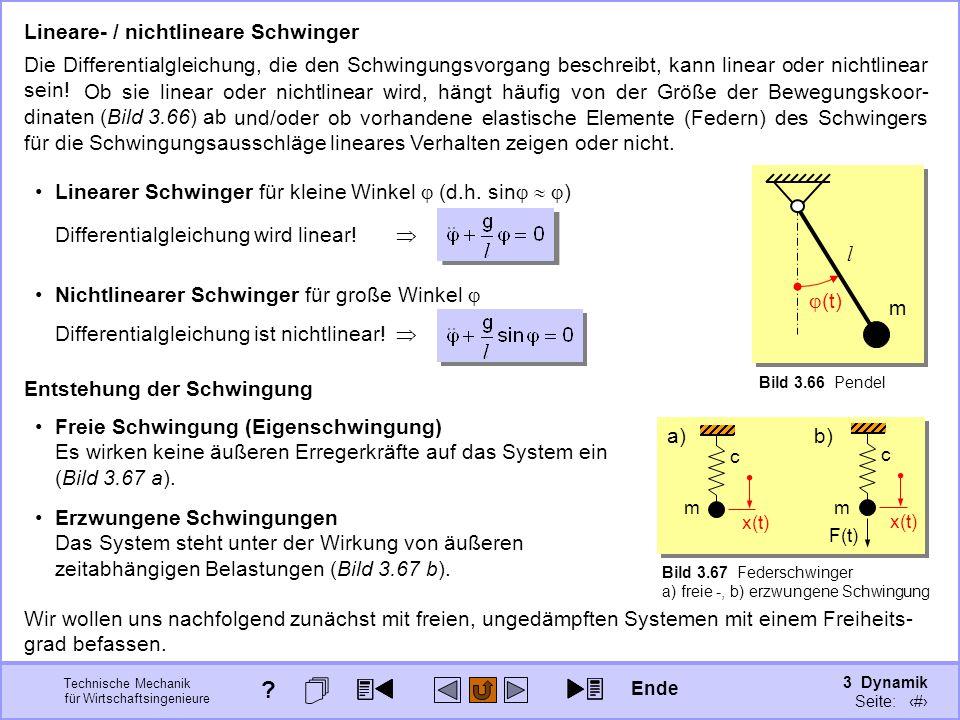 3 Dynamik Seite: 393 Technische Mechanik für Wirtschaftsingenieure c m x(t) a) Lineare- / nichtlineare Schwinger Die Differentialgleichung, die den Schwingungsvorgang beschreibt, kann linear oder nichtlinear sein.