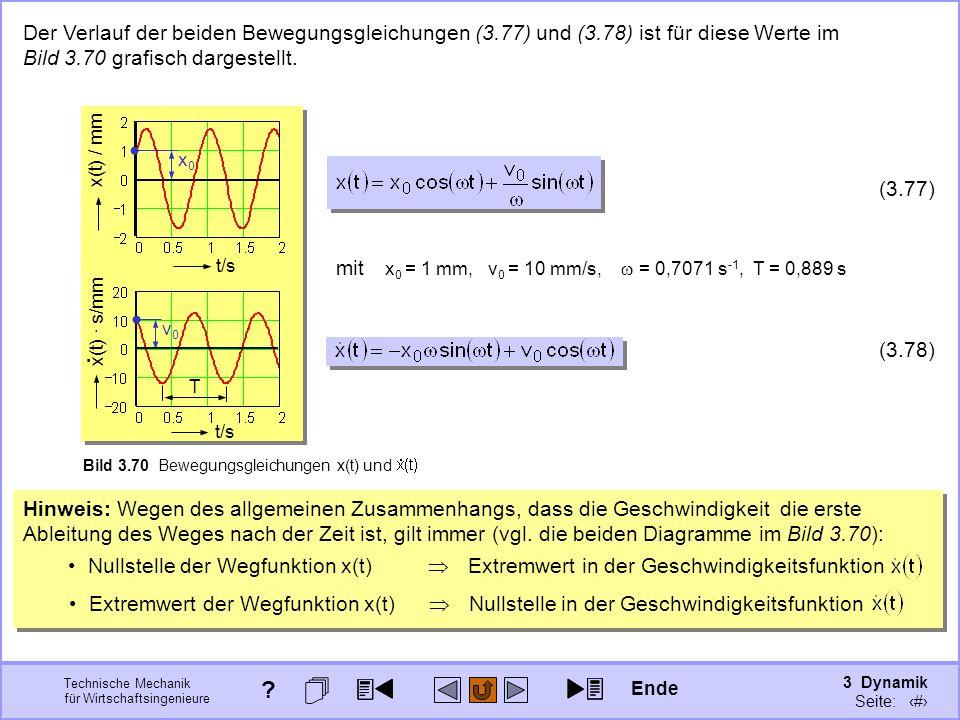 3 Dynamik Seite: 398 Technische Mechanik für Wirtschaftsingenieure Hinweis: Wegen des allgemeinen Zusammenhangs, dass die Geschwindigkeit die erste Ableitung des Weges nach der Zeit ist, gilt immer (vgl.