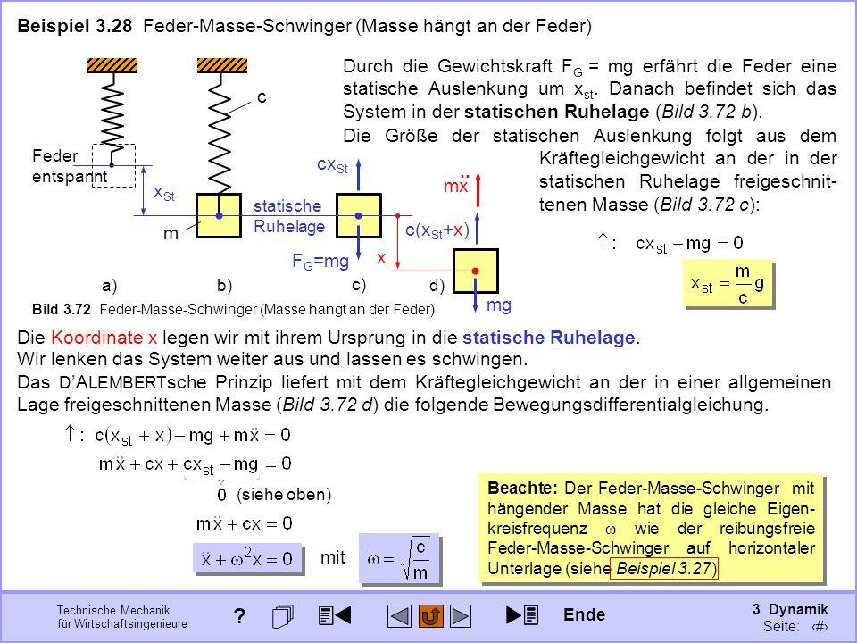 3 Dynamik Seite: 400 Technische Mechanik für Wirtschaftsingenieure Wir lenken das System weiter aus und lassen es schwingen. Beispiel 3.28 Feder-Masse