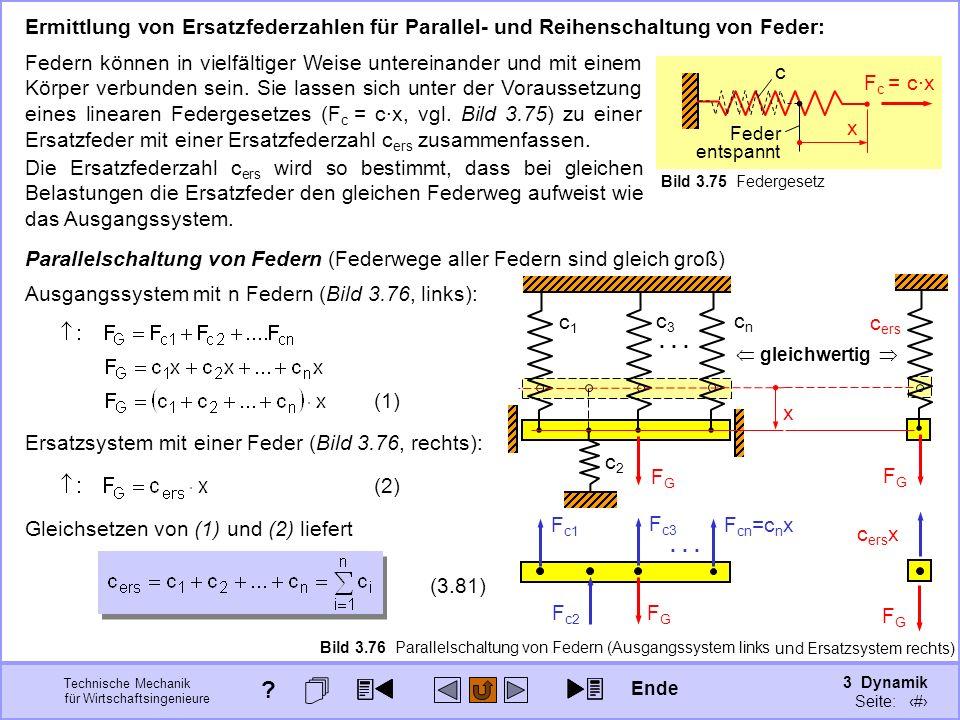 3 Dynamik Seite: 404 Technische Mechanik für Wirtschaftsingenieure entspannt Feder c Bild 3.75 Federgesetz Ermittlung von Ersatzfederzahlen für Parallel- und Reihenschaltung von Feder: Federn können in vielfältiger Weise untereinander und mit einem Körper verbunden sein.