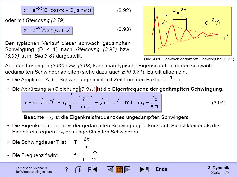 3 Dynamik Seite: 413 Technische Mechanik für Wirtschaftsingenieure Die Abkürzung (Gleichung (3.91)) ist die Eigenfrequenz der gedämpften Schwingung.
