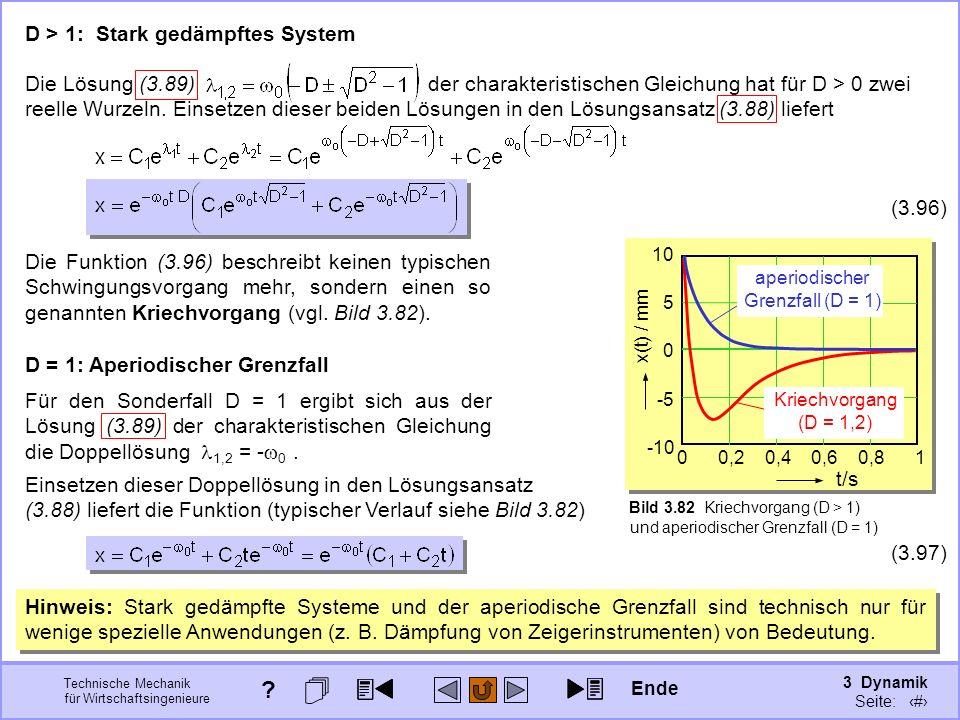 3 Dynamik Seite: 416 Technische Mechanik für Wirtschaftsingenieure D > 1: Stark gedämpftes System Die Funktion (3.96) beschreibt keinen typischen Schw