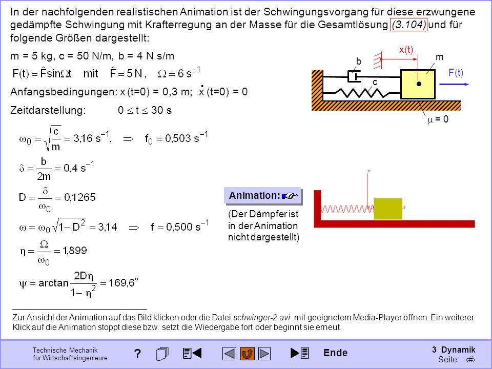 3 Dynamik Seite: 422 Technische Mechanik für Wirtschaftsingenieure In der nachfolgenden realistischen Animation ist der Schwingungsvorgang für diese erzwungene gedämpfte Schwingung mit Krafterregung an der Masse für die Gesamtlösung (3.104) und für folgende Größen dargestellt: m = 5 kg, c = 50 N/m, b = 4 N s/m Anfangsbedingungen: x (t=0) = 0,3 m; x (t=0) = 0.