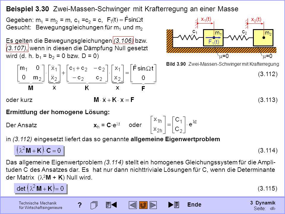 3 Dynamik Seite: 427 Technische Mechanik für Wirtschaftsingenieure Beispiel 3.30 Zwei-Massen-Schwinger mit Krafterregung an einer Masse =0 c1c1 m1m1 c2c2 m2m2 F 1 (t) Bild 3.90 Zwei-Massen-Schwinger mit Krafterregung Gegeben:m 1 = m 2 = m, c 1 =c 2 = c, Gesucht:Bewegungsgleichungen für m 1 und m 2 x 1 (t) x 2 (t) Es gelten die Bewegungsgleichungen (3.106) bzw.