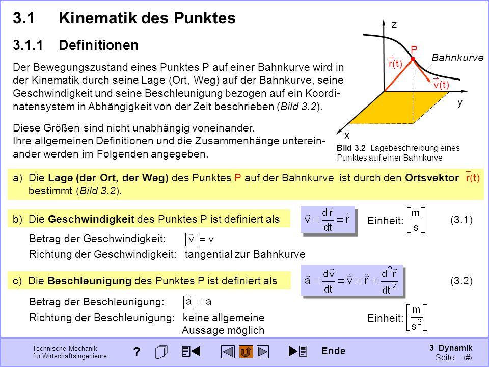 3 Dynamik Seite: 304 Technische Mechanik für Wirtschaftsingenieure a) Die Lage (der Ort, der Weg) des Punktes P auf der Bahnkurve ist durch den Ortsvektor bestimmt (Bild 3.2).