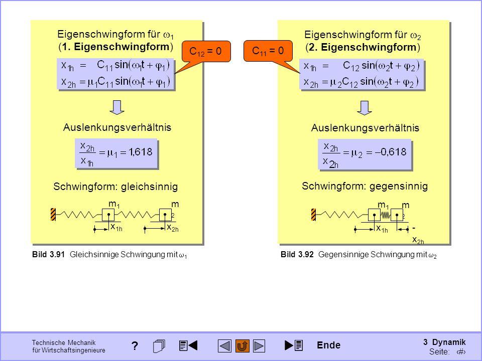 3 Dynamik Seite: 431 Technische Mechanik für Wirtschaftsingenieure Bild 3.92 Gegensinnige Schwingung mit 2 Eigenschwingform für 2 (2. Eigenschwingform