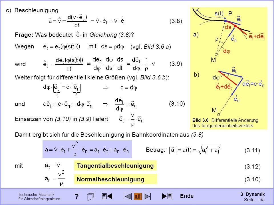 3 Dynamik Seite: 308 Technische Mechanik für Wirtschaftsingenieure P enen M etet s(t) ds d e t +de t a) Bild 3.6 Differentielle Änderung des Tangenteneinheitsvektors c) Beschleunigung Weiter folgt für differentiell kleine Größen (vgl.
