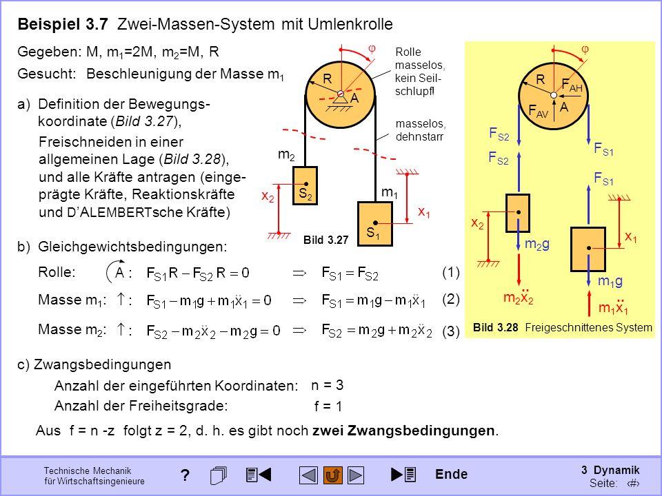 3 Dynamik Seite: 335 Technische Mechanik für Wirtschaftsingenieure R A Bild 3.28 Freigeschnittenes System x1x1 x2x2 R m1m1 m2m2 masselos, dehnstarr Rolle masselos, kein Seil- schlupf.
