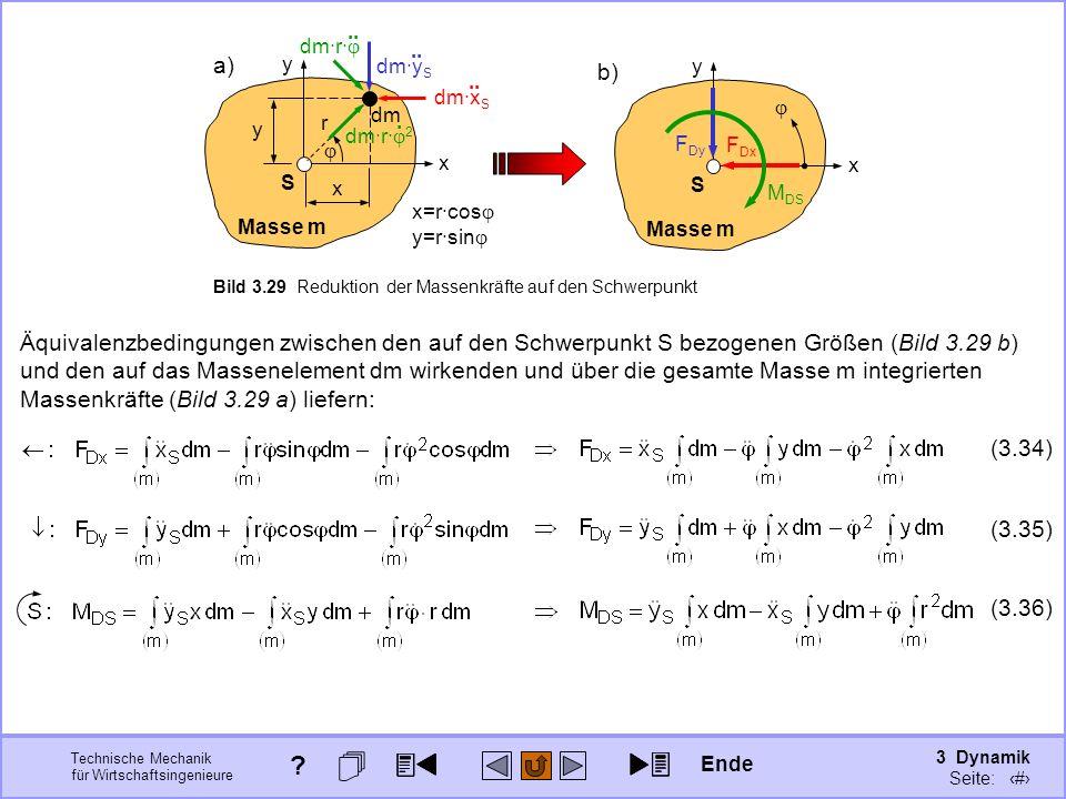 3 Dynamik Seite: 338 Technische Mechanik für Wirtschaftsingenieure Äquivalenzbedingungen zwischen den auf den Schwerpunkt S bezogenen Größen (Bild 3.29 b) und den auf das Massenelement dm wirkenden und über die gesamte Masse m integrierten Massenkräfte (Bild 3.29 a) liefern: (3.34) (3.36) (3.35) x y Masse m S b) x y Masse m S Bild 3.29 Reduktion der Massenkräfte auf den Schwerpunkt a) dm·y S..
