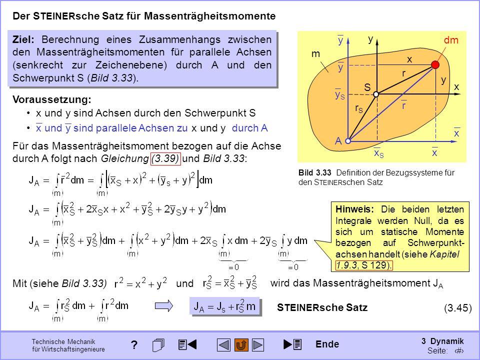 3 Dynamik Seite: 343 Technische Mechanik für Wirtschaftsingenieure m Bild 3.33 Definition der Bezugssysteme für den S TEINER schen Satz S A y x Der S TEINER sche Satz für Massenträgheitsmomente Ziel: Berechnung eines Zusammenhangs zwischen den Massenträgheitsmomenten für parallele Achsen (senkrecht zur Zeichenebene) durch A und den Schwerpunkt S (Bild 3.33).