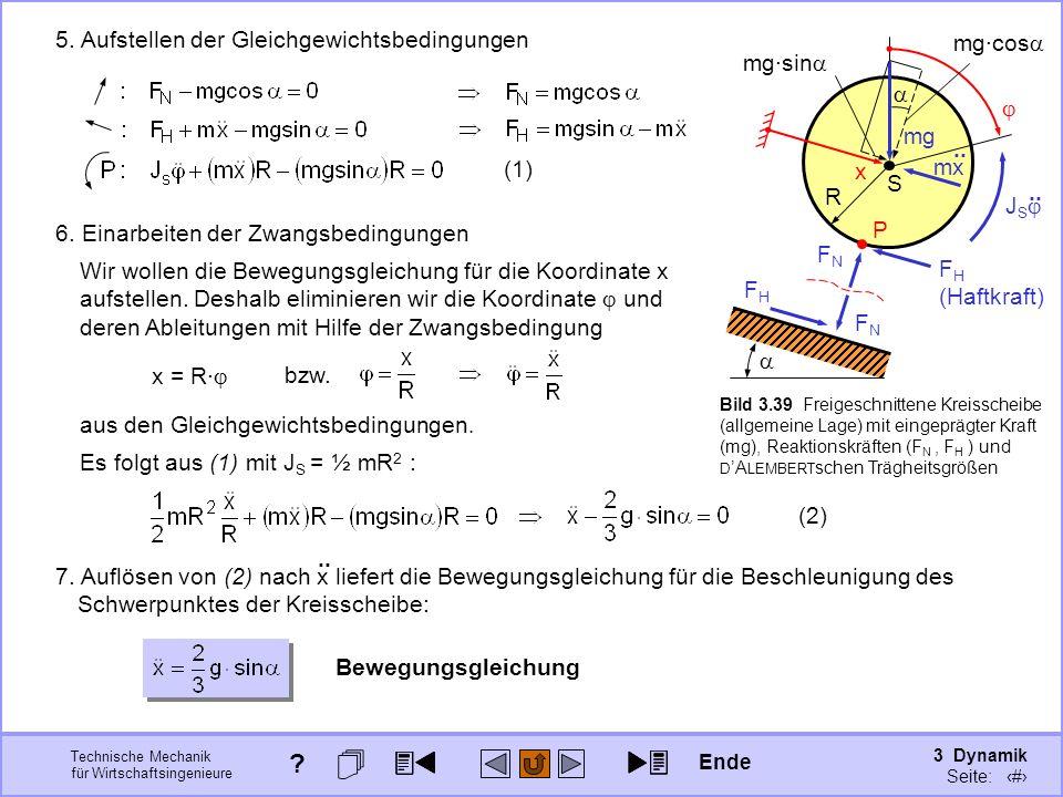 3 Dynamik Seite: 351 Technische Mechanik für Wirtschaftsingenieure S R x P F H (Haftkraft) FHFH FNFN FNFN mx.. J S.. mg 5. Aufstellen der Gleichgewich