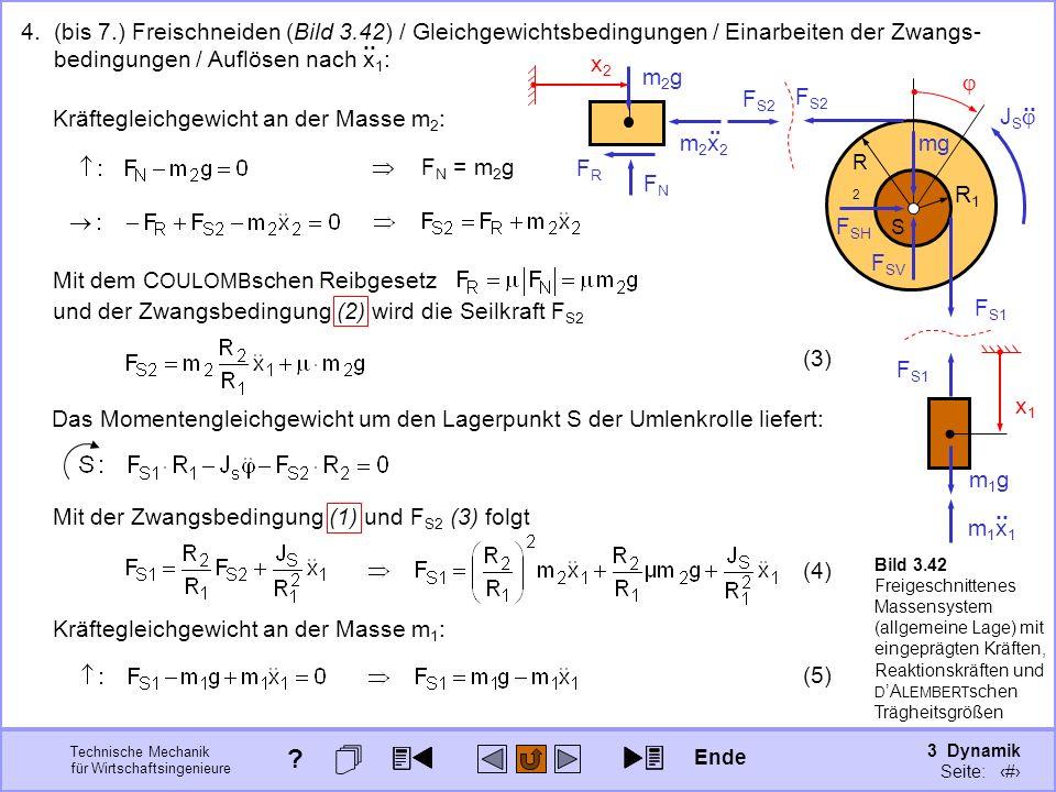 3 Dynamik Seite: 354 Technische Mechanik für Wirtschaftsingenieure x2x2 x1x1 S R2R2 R1R1 4. (bis 7.) Freischneiden (Bild 3.42) / Gleichgewichtsbedingu