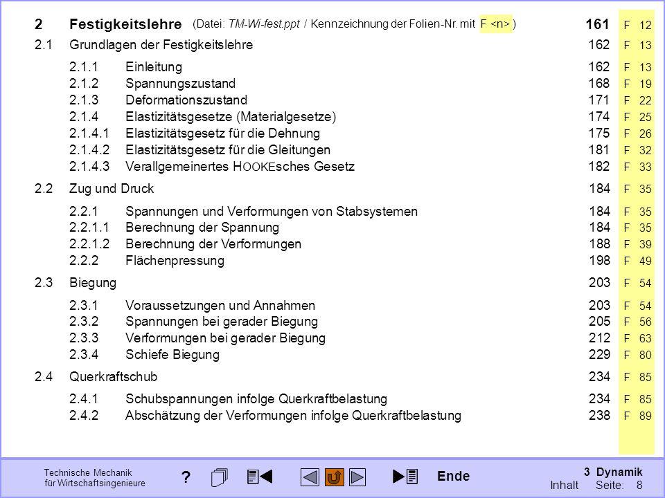 3 Dynamik Seite: 298 Technische Mechanik für Wirtschaftsingenieure (Datei: TM-Wi-fest.ppt / Kennzeichnung der Folien-Nr. mit F ) Ende ? 3 Dynamik Inha