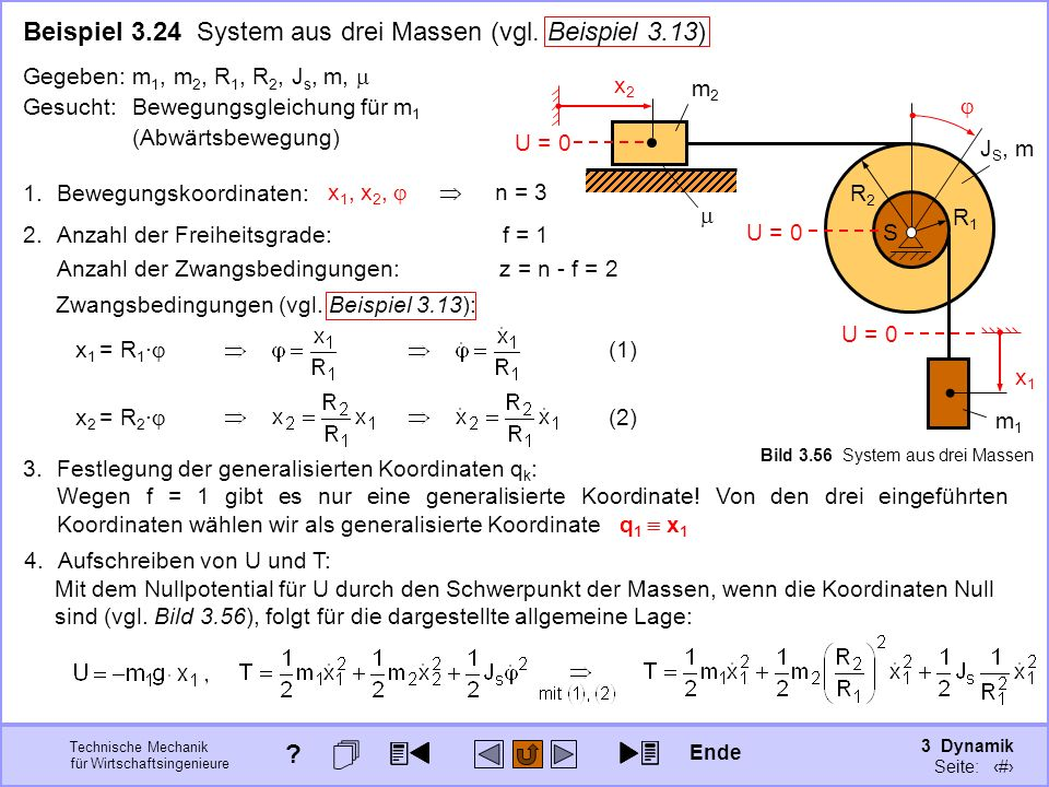 3 Dynamik Seite: 382 Technische Mechanik für Wirtschaftsingenieure 3.Festlegung der generalisierten Koordinaten q k : Wegen f = 1 gibt es nur eine generalisierte Koordinate.