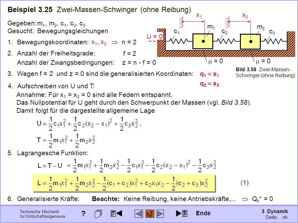 3 Dynamik Seite: 384 Technische Mechanik für Wirtschaftsingenieure Beispiel 3.25 Zwei-Massen-Schwinger (ohne Reibung) c1c1 c3c3 Gegeben:m 1, m 2, c 1, c 2, c 3 Gesucht:Bewegungsgleichungen c2c2 m2m2 = 0 x2x2 x1x1 3.Wegen f = 2 und z = 0 sind die generalisierten Koordinaten:q 1 x 1 q 2 x 2 1.Bewegungskoordinaten: x 1, x 2 n = 2 2.Anzahl der Freiheitsgrade: f = 2 Anzahl der Zwangsbedingungen:z = n - f = 0 U = 0 5.Lagrangesche Funktion: Beachte: Keine Reibung, keine Antriebskräfte,...