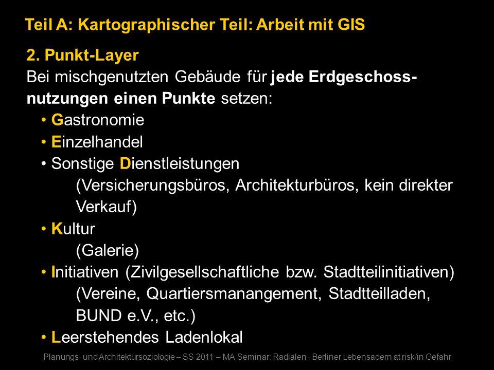 Teil A: Kartographischer Teil: Arbeit mit GIS 2. Punkt-Layer Bei mischgenutzten Gebäude für jede Erdgeschoss- nutzungen einen Punkte setzen: Gastronom