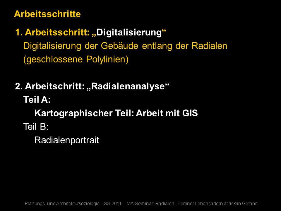 Arbeitsschritte 1. Arbeitsschritt: Digitalisierung Digitalisierung der Gebäude entlang der Radialen (geschlossene Polylinien) 2. Arbeitschritt: Radial