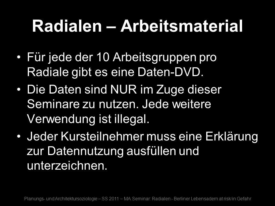 Radialen – Arbeitsmaterial Für jede der 10 Arbeitsgruppen pro Radiale gibt es eine Daten-DVD. Die Daten sind NUR im Zuge dieser Seminare zu nutzen. Je