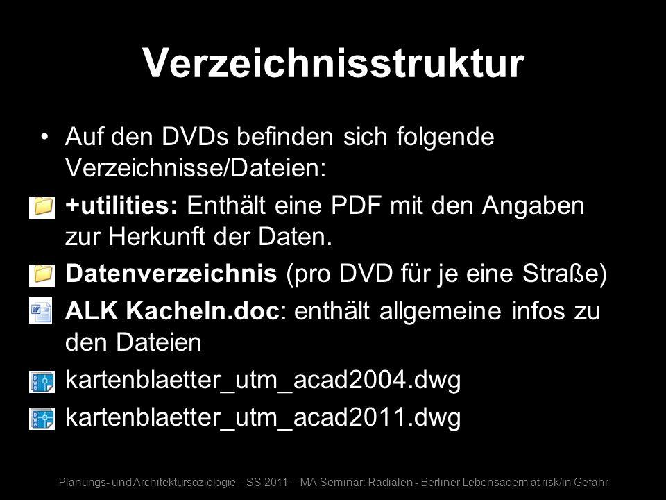 Verzeichnisstruktur Auf den DVDs befinden sich folgende Verzeichnisse/Dateien: +utilities: Enthält eine PDF mit den Angaben zur Herkunft der Daten. Da