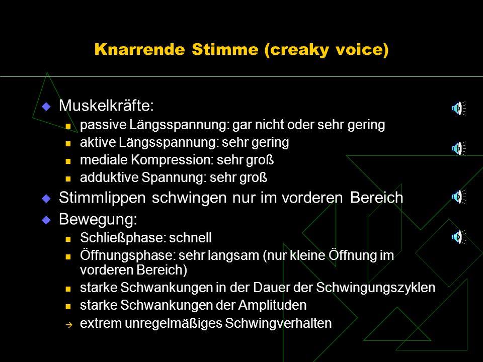 Knarrende Stimme (creaky voice) Muskelkräfte: passive Längsspannung: gar nicht oder sehr gering aktive Längsspannung: sehr gering mediale Kompression:
