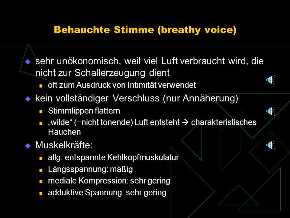 Behauchte Stimme (breathy voice) sehr unökonomisch, weil viel Luft verbraucht wird, die nicht zur Schallerzeugung dient oft zum Ausdruck von Intimität