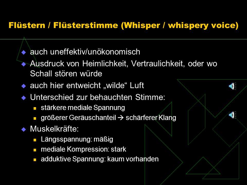 Flüstern / Flüsterstimme (Whisper / whispery voice) auch uneffektiv/unökonomisch Ausdruck von Heimlichkeit, Vertraulichkeit, oder wo Schall stören wür
