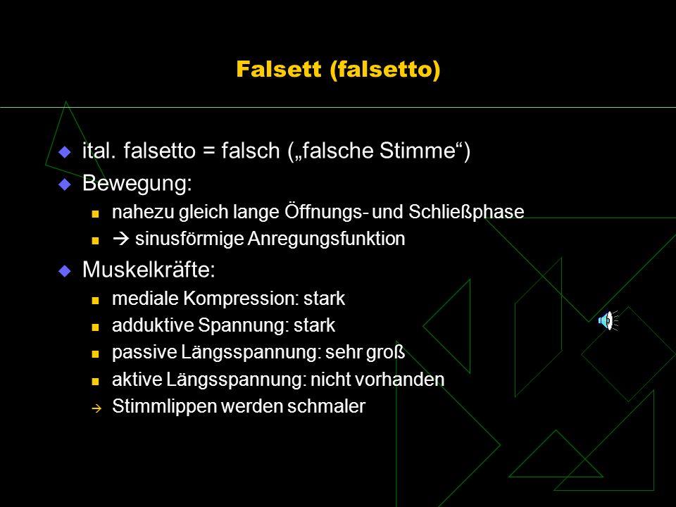 Falsett (falsetto) ital. falsetto = falsch (falsche Stimme) Bewegung: nahezu gleich lange Öffnungs- und Schließphase sinusförmige Anregungsfunktion Mu