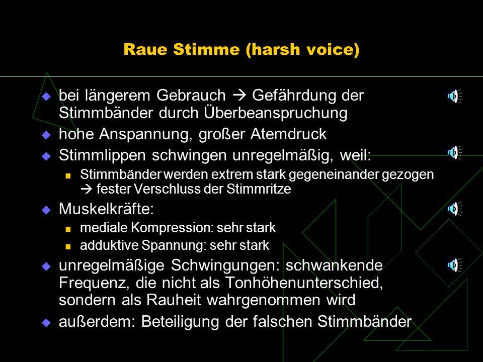 Raue Stimme (harsh voice) bei längerem Gebrauch Gefährdung der Stimmbänder durch Überbeanspruchung hohe Anspannung, großer Atemdruck Stimmlippen schwi