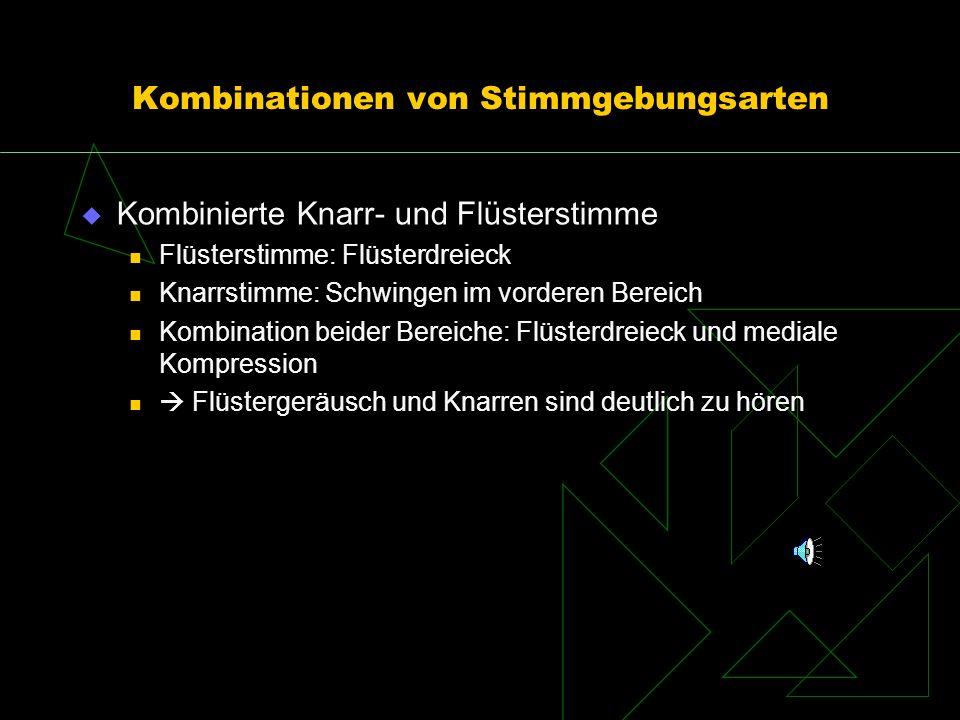Kombinationen von Stimmgebungsarten Kombinierte Knarr- und Flüsterstimme Flüsterstimme: Flüsterdreieck Knarrstimme: Schwingen im vorderen Bereich Komb
