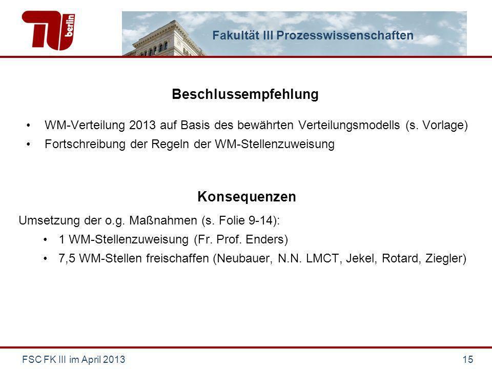 Fakultät III Prozesswissenschaften Beschlussempfehlung WM-Verteilung 2013 auf Basis des bewährten Verteilungsmodells (s. Vorlage) Fortschreibung der R