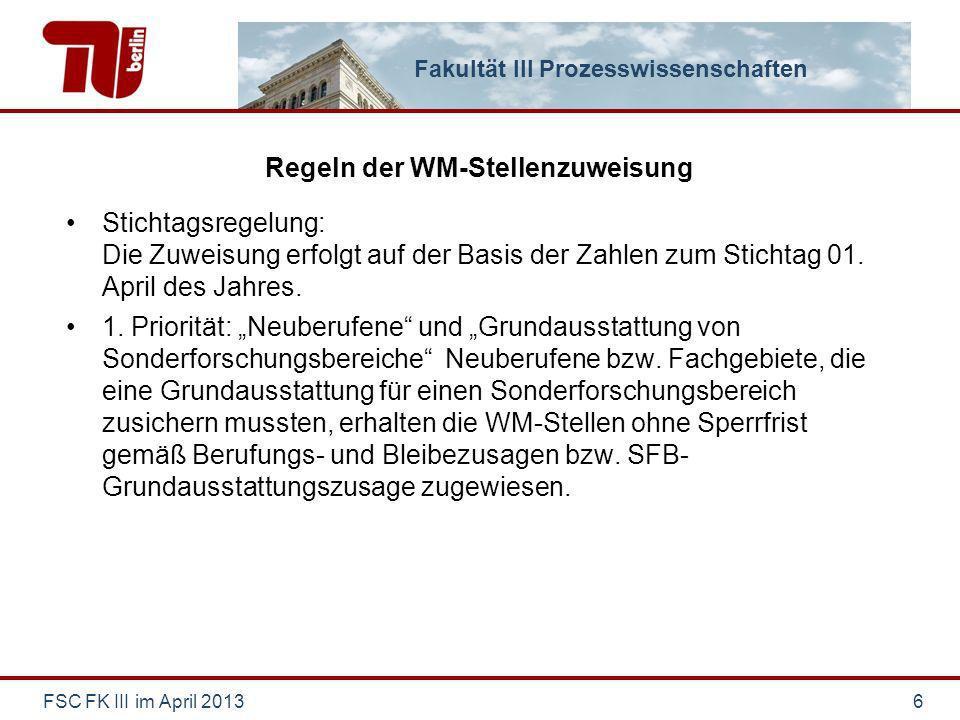 Fakultät III Prozesswissenschaften Regeln der WM-Stellenzuweisung Stichtagsregelung: Die Zuweisung erfolgt auf der Basis der Zahlen zum Stichtag 01.