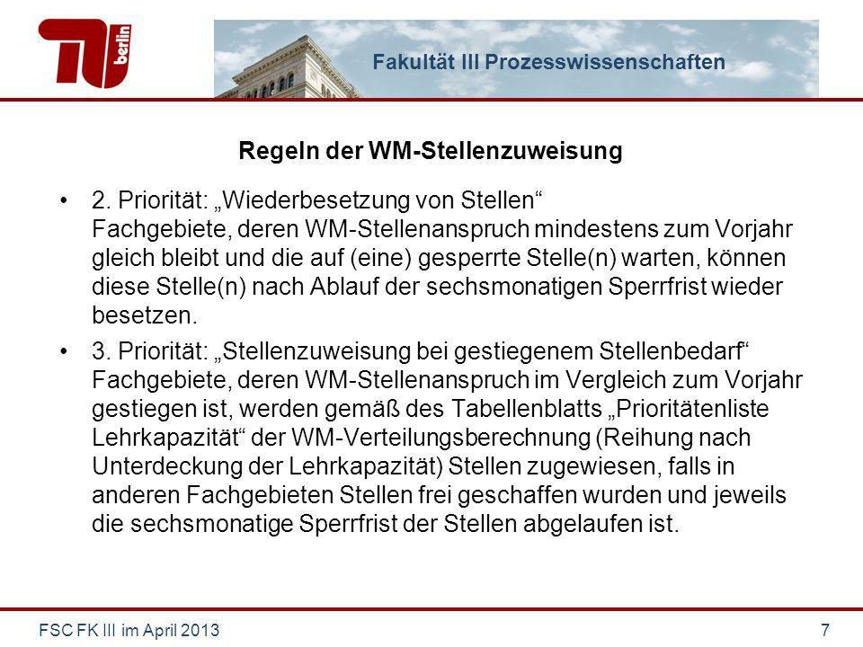Fakultät III Prozesswissenschaften Regeln der WM-Stellenzuweisung 2.